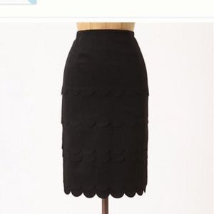 Anthropologie Maeve Scallop Skirt Black Wool 4P